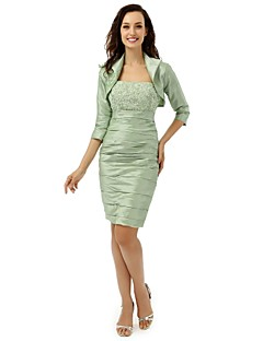 Sheath/Column Mother of the Bride Dress - Knee-length Satin