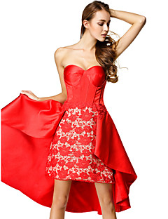 TS Couture Cocktail Party Dress - Ruby A-line Sweetheart Asymmetrical Lace / Satin