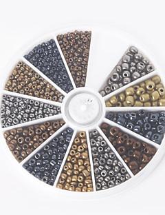 beadia 1BOX / 46g 유리 씨앗 구슬 모듬 크기 2mm 3mm의 4mm 라운드 혼합 금속 색상 작은 유리 구슬 (aprx.1000pcs)
