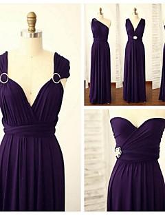 Floor-length Spandex Bridesmaid Dress - Grape A-line Straps