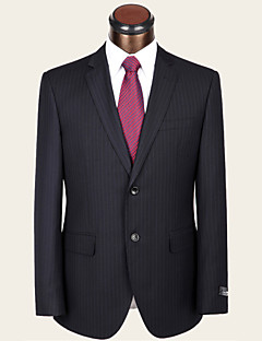 Suits Standard Fit Notch Single Breasted Two-buttons Wool / Viscose Stripes 2 Pieces Dark Blue