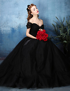 Formal Evening Dress - Jade / Black A-line Off-the-shoulder Floor-length Tulle / Charmeuse