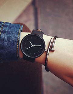 Herrn Damen Paar Modeuhr Quartz Armbanduhren für den Alltag Leder Band Minimalistisch Schwarz