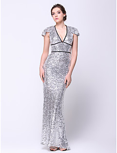 TS Couture® Formal Evening Dress Trumpet / Mermaid V-neck Sweep / Brush Train Sequined with Sequins