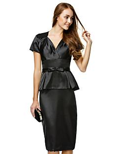 TS Couture Cocktail Party Dress - Black Sheath/Column V-neck Knee-length Charmeuse