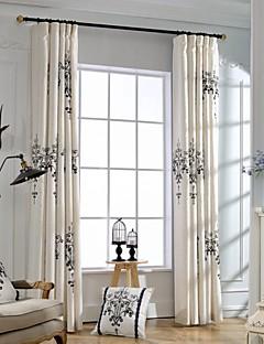 Două Panouri Tratamentul fereastră Țara Modern Neoclasic Dormitor Amestec In / Bumbac Material perdele, draperii Pagina de decorare For