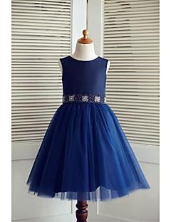 A-line Knee-length Flower Girl Dress - Taffeta / Tulle Sleeveless Scoop with