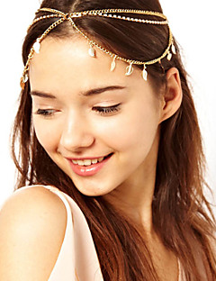 Women Fashion Zircon Crystal Leaves Pendant Chain Multilayer Tassel Hair Bands Hair Accessories