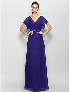 Floor-length Chiffon Bridesmaid Dress Sheath / Column V-neck with Criss Cross