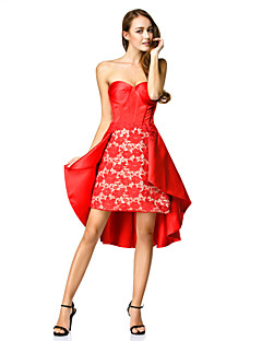 TS Couture® Cocktail Party Dress - Ruby A-line Sweetheart Asymmetrical Lace / Satin