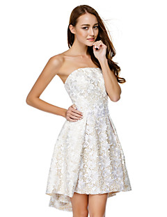 TS Couture Cocktail Party Dress - Ivory A-line Strapless Asymmetrical Lace