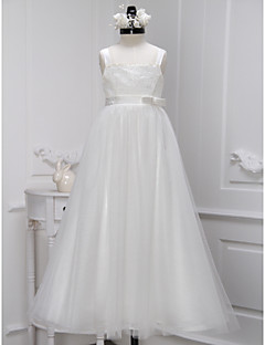 A-line Ankle-length Flower Girl Dress - Lace / Tulle Sleeveless