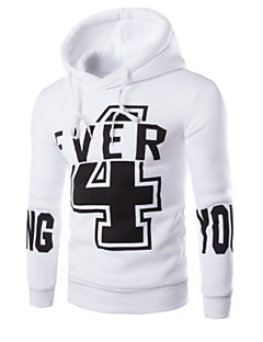 Men's Casual/Daily Simple Hoodie Letter Round Neck Micro-elastic Cotton Long Sleeve Spring