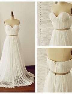 웨딩 드레스 - 아이보리(색상은 모니터에 따라 다를 수 있음) A 라인 스위프/브러쉬 트레인 스윗하트 레이스