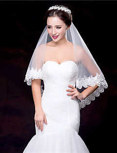 White / Ivory Wedding Veil One-tier Fingertip Veils Lace Applique Edge