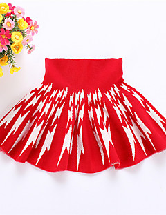 שמלה יום יומי\קז'ואל דפוס צמר חורף / אביב / סתיו שחור / אדום הילדה של