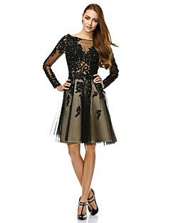 Cocktail Party / Company Party Dress-Black A-line Bateau Knee-length Tulle