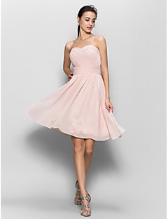Lanting Bride® Knee-length Chiffon Bridesmaid Dress - A-line Sweetheart with Criss Cross