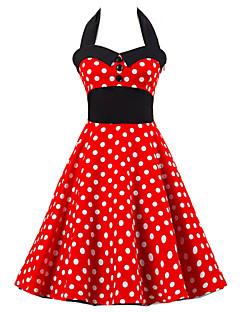 Women's Going out Vintage / Cute A Line / Skater Dress,Polka Dot Halter Knee-length Sleeveless Red Cotton Summer High Rise Micro-elastic