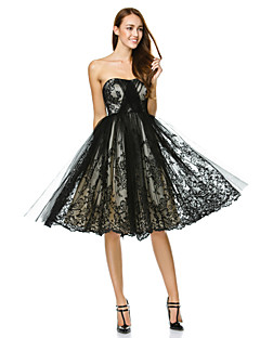 Cocktail Party / Company Party Dress A-line Strapless Knee-length Tulle with Lace