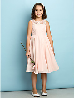 Lanting Bride® Knee-length Chiffon Junior Bridesmaid Dress - Mini Me A-line Scoop with Lace