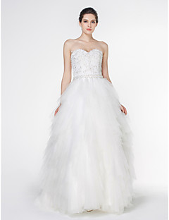 Lan Ting - A-line Wedding Dress - Ivory Court Train Strapless Lace / Tulle