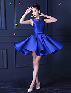 Short / Mini Satin Bridesmaid Dress A-line Jewel with Beading / Lace / Sash / Ribbon