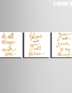 E-HOME® Stretched Canvas Art Golden English Word Decoration Painting  Set of 3