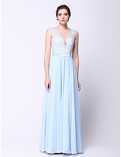 Formal Evening Dress - Sky Blue Plus Sizes / Petite A-line / Princess Bateau Floor-length Chiffon