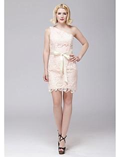 Short/Mini Lace Bridesmaid Dress - Blushing Pink Sheath/Column One Shoulder