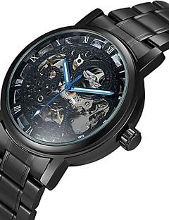 WINNER Masculino Relógio Esqueleto relógio mecânico Automático - da corda automáticamente Gravação Oca Aço Inoxidável Banda LuxuosoPreta