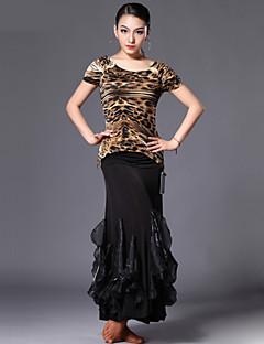 Latinské tance Úbory Dámské Výkon elastan Polyester Hedvábí Levhart Puntíkované 2 kusy Sukně horní a dolní část)M: 50 L: 51 XL: 52 XXL: