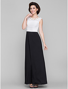 Lanting A-line Mother of the Bride Dress - Ivory / Black Ankle-length Sleeveless Chiffon / Jersey