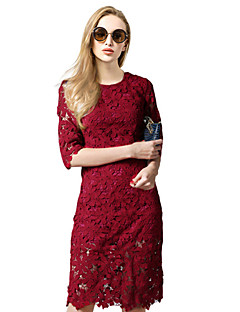 Sheath / Column Mother of the Bride Dress Knee-length Half Sleeve Lace / Polyester with Lace