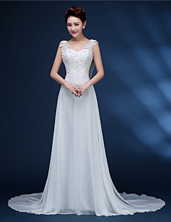 A-line Bride Wedding Dress - White Court Train V-neck Chiffon / Lace