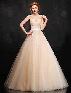 Formal Evening Dress Ball Gown V-neck Floor-length Lace / Satin / Tulle with Appliques / Beading / Flower(s) / Lace