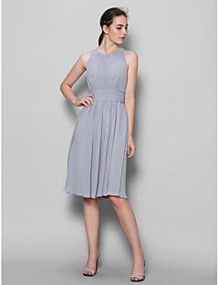 גזרת A באורך  הברך ג'ורג'ט שמלה לשושבינה  עם תד נשפך סלסולים על ידי LAN TING BRIDE®