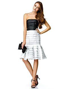 Cocktail Party Dress Trumpet / Mermaid Strapless Knee-length Taffeta with Tiers