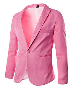 Men's Solid Casual / Work / Formal / Sport / Plus Sizes Blazer,Cotton Blend Long Sleeve Black / Blue / Pink / Red / Gray