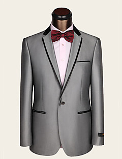 Suits Slim Fit Notch Single Breasted One-button Wool / Viscose Stripes 2 Pieces Light Gray Straight Piped None (Flat Front) GrayNone