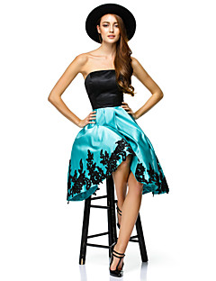 TS Couture Cocktail Party Dress - Multi-color A-line Strapless Knee-length Satin