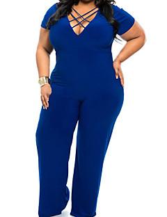 婦人向け カジュアル スパンデックス ジャンプスーツ , マイクロエラスティック ミディアム 半袖