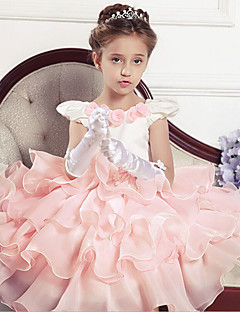 Ball Gown Tea-length Flower Girl Dress - Cotton / Tulle / Polyester Sleeveless