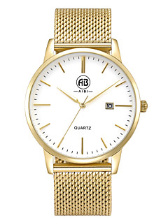AIBI Men's Wrist watch Calendar Water Resistant / Water Proof Quartz Stainless Steel Band Gold
