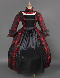 Steampunk®Wine and Black Brocade Printing Lolita Long Prom Dress Marie Antoinette Inspired Dress Wholesalelolita Evening Dress