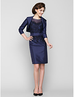 Sheath/Column Mother of the Bride Dress - Dark Navy Knee-length 3/4 Length Sleeve Taffeta