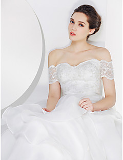 Lan Ting - A-line Wedding Dress - Ivory Sweep/Brush Train Off-the-shoulder Lace / Organza