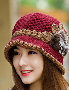 Womens Wool Flowers Knitting  Crochet Casual Cap Beanies Cap