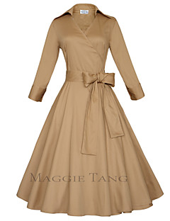 Maggie Tang Women's Bow  50s VTG Retro Rockabilly Hepburn Pinup Swing Parka Business Dress 560