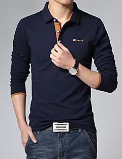 Men's Fashion Letter Print Turndown Collar Slim Long Sleeved Polo